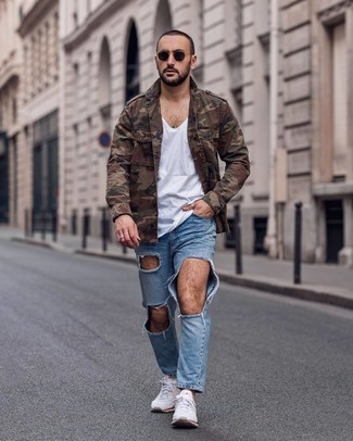 How to wear: white athletic shoes, light blue ripped jeans, white v-neck t-shirt, brown camouflage military jacket