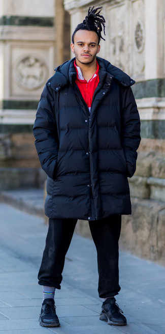 How to wear: black athletic shoes, black jeans, red zip neck sweater, navy puffer coat