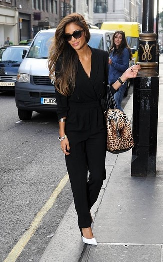 How to wear: black jumpsuit, white leather pumps, brown leopard leather duffle bag, black sunglasses