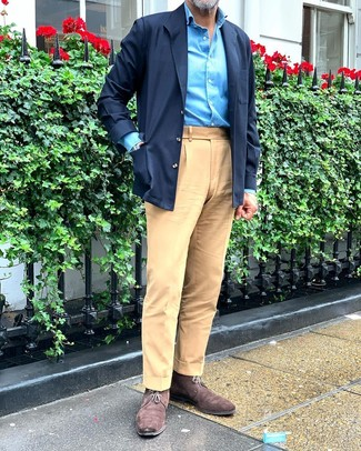 How to Wear Dark Brown Suede Desert Boots: For a casually neat ensemble, pair a navy shirt jacket with khaki chinos — these two items fit pretty good together. We love how complete this outfit looks when completed by a pair of dark brown suede desert boots.