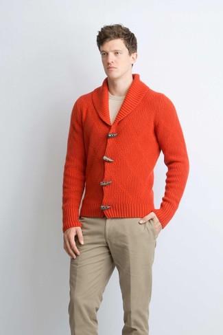 How to wear: khaki chinos, beige crew-neck sweater, red shawl cardigan