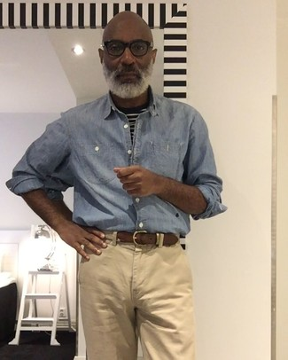 How to wear: beige woven canvas belt, khaki chinos, black and white horizontal striped crew-neck t-shirt, light blue chambray long sleeve shirt