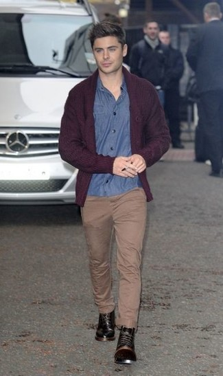 How to wear: black leather casual boots, khaki chinos, blue chambray long sleeve shirt, burgundy shawl cardigan