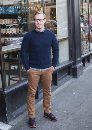 How to Wear Dark Purple Leather Casual Boots For Men: Stand out from the crowd by wearing a navy crew-neck sweater and khaki chinos. A good pair of dark purple leather casual boots is the simplest way to breathe an added touch of refinement into your ensemble.