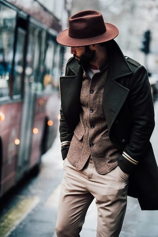 How to wear: brown wool hat, khaki chinos, brown wool blazer, olive overcoat