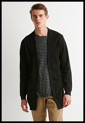How to wear: khaki chinos, charcoal horizontal striped crew-neck t-shirt, black open cardigan