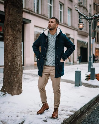 How to wear: brown leather casual boots, khaki chinos, grey cable sweater, black duffle coat