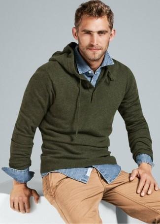 How to wear: khaki chinos, light blue denim shirt, olive hoodie
