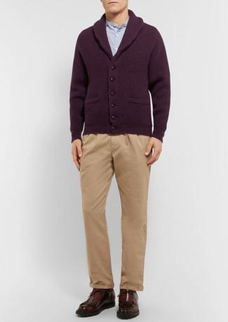 How to wear: dark brown leather desert boots, khaki chinos, light blue long sleeve shirt, burgundy shawl cardigan