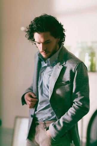 How to wear: khaki chinos, light blue long sleeve shirt, grey blazer