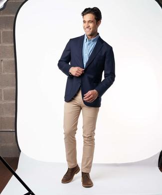 How to wear: dark brown leather desert boots, khaki chinos, light blue long sleeve shirt, navy blazer