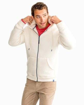 How to wear: khaki chinos, red long sleeve t-shirt, beige fleece hoodie