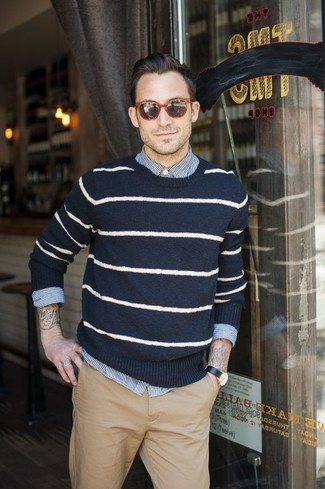 How to wear: khaki chinos, white and blue vertical striped long sleeve shirt, navy and white horizontal striped crew-neck sweater