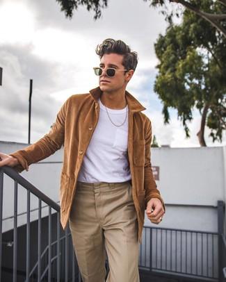 Men's Tan Sunglasses, Khaki Chinos, White Crew-neck T-shirt, Brown Shirt Jacket