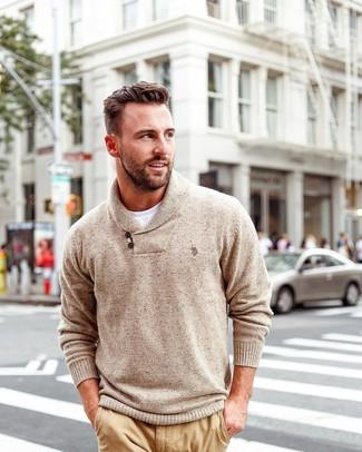 How to wear: khaki chinos, white crew-neck t-shirt, tan shawl-neck sweater