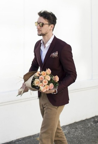 How to wear: burgundy paisley pocket square, khaki chinos, white long sleeve shirt, burgundy blazer