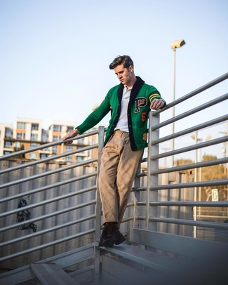 How to wear: dark brown leather casual boots, khaki chinos, white polo, green embroidered cardigan