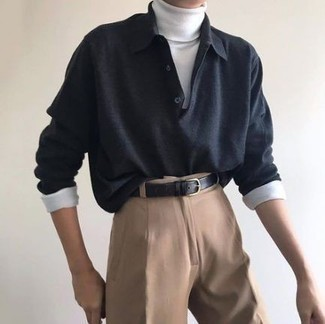 Men's Looks & Outfits: What To Wear In 2020: Such items as a charcoal polo neck sweater and khaki chinos are the ideal way to infuse extra elegance into your off-duty arsenal.