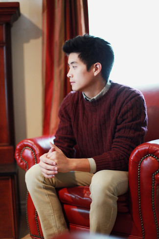 How to wear: khaki jeans, grey vertical striped long sleeve shirt, burgundy cable sweater