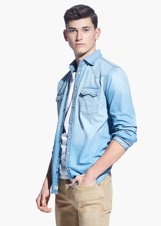 blue shirt combination