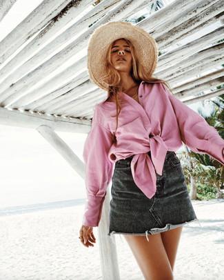 How to wear: khaki straw hat, black denim mini skirt, pink dress shirt