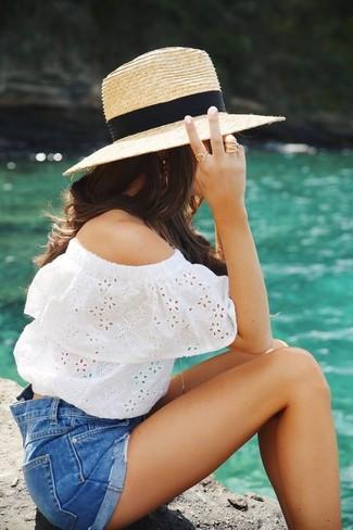 How to wear: khaki straw hat, blue denim shorts, white eyelet off shoulder top