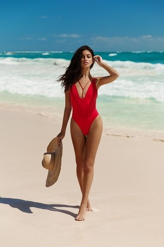 How to wear: khaki straw hat, red swimsuit