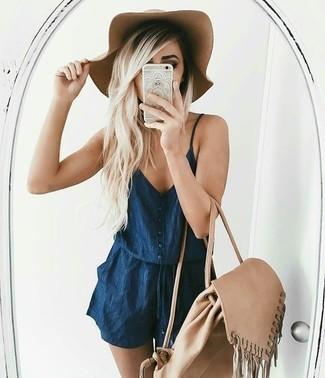 How to wear: khaki wool hat, beige backpack, navy denim playsuit