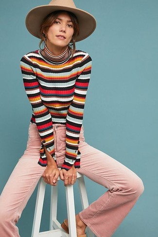 How to wear: khaki wool hat, pink flare jeans, multi colored horizontal striped turtleneck