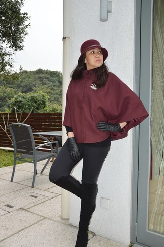 How to wear: black leather gloves, black suede knee high boots, black leggings, burgundy cape coat