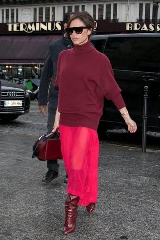 How to wear: burgundy leather satchel bag, burgundy leather knee high boots, hot pink chiffon maxi dress, burgundy wool turtleneck