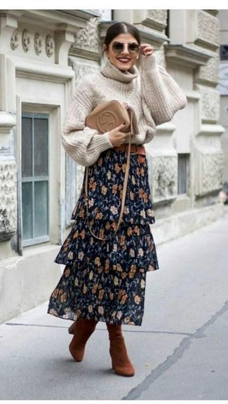 How to wear: tan leather crossbody bag, tobacco suede knee high boots, navy floral maxi skirt, beige knit turtleneck