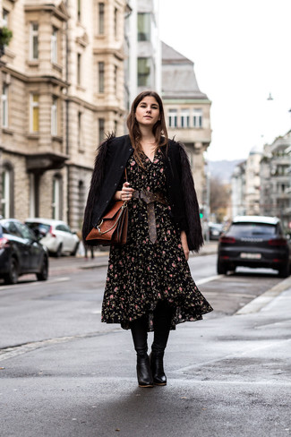 How to wear: brown leather satchel bag, black leather knee high boots, black floral midi dress, black wool bomber jacket