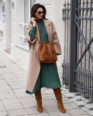 How to wear: tobacco suede bucket bag, tobacco suede knee high boots, dark green chiffon midi dress, beige coat