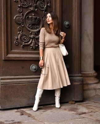 How to wear: white quilted leather satchel bag, white leather knee high boots, beige pleated midi skirt, tan cable sweater