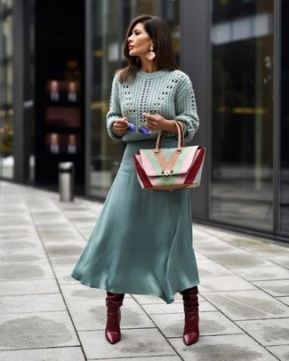 How to wear: multi colored leather satchel bag, burgundy leather knee high boots, mint chiffon midi skirt, mint cable sweater