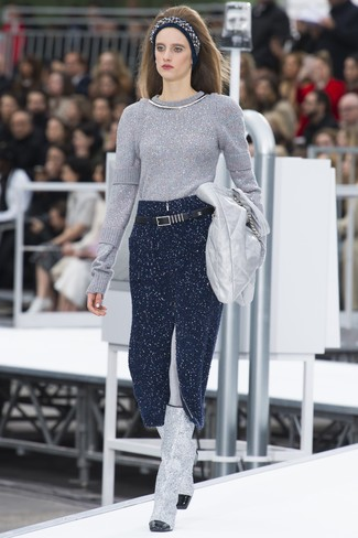 How to wear: silver leather clutch, silver leather knee high boots, navy knit midi skirt, silver crew-neck sweater