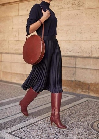 How to wear: tobacco leather crossbody bag, tobacco leather knee high boots, black pleated midi skirt, black turtleneck