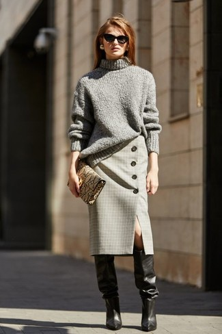 How to wear: tan snake leather clutch, black leather knee high boots, grey plaid pencil skirt, grey knit turtleneck