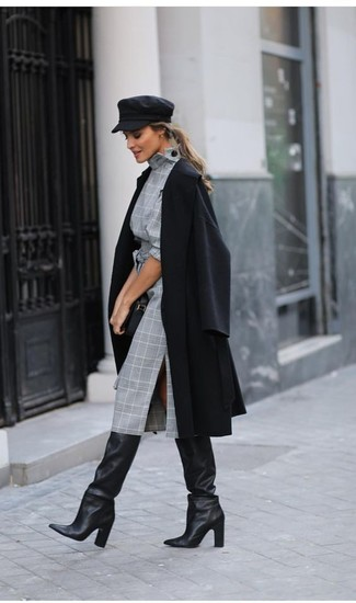 How to wear: black leather clutch, black leather knee high boots, grey plaid sheath dress, black coat