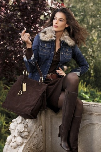 How to wear: dark brown suede tote bag, dark brown suede knee high boots, dark brown knit sheath dress, navy denim jacket