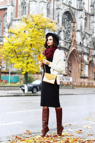 How to Wear Burgundy Leather Knee High Boots: Consider teaming a beige knit open cardigan with a black wool sheath dress if you seek to look neat and relaxed without too much effort. Infuse your look with a hint of class by rounding off with burgundy leather knee high boots.