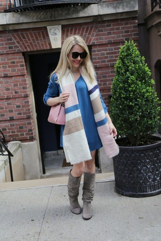 How to wear: pink leather satchel bag, grey suede knee high boots, blue shift dress, multi colored horizontal striped shawl
