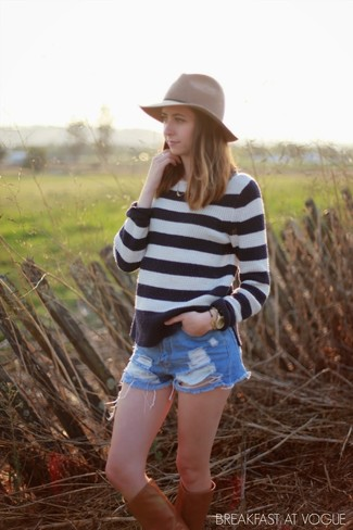 How to wear: brown wool hat, tobacco leather knee high boots, light blue ripped denim shorts, white and black horizontal striped crew-neck sweater