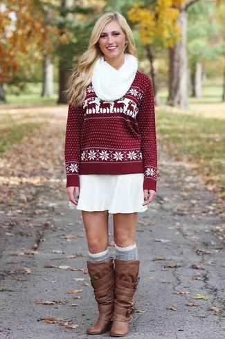 How to wear: grey knee high socks, brown leather knee high boots, white skater skirt, burgundy fair isle crew-neck sweater