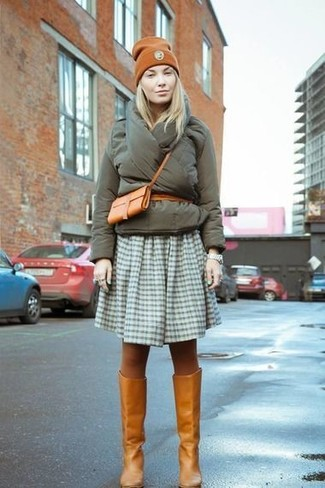 How to wear: tobacco leather crossbody bag, tobacco leather knee high boots, olive gingham skater skirt, olive puffer jacket