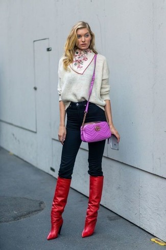 How to wear: purple leather crossbody bag, red leather knee high boots, black skinny jeans, grey oversized sweater