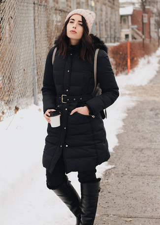 How to wear: brown leather backpack, black leather knee high boots, black skinny jeans, black puffer coat
