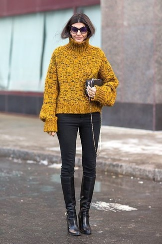 How to wear: black leather clutch, black leather knee high boots, blue skinny jeans, mustard knit turtleneck