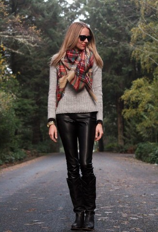 How to wear: red plaid scarf, black leather knee high boots, black leather skinny pants, grey crew-neck sweater